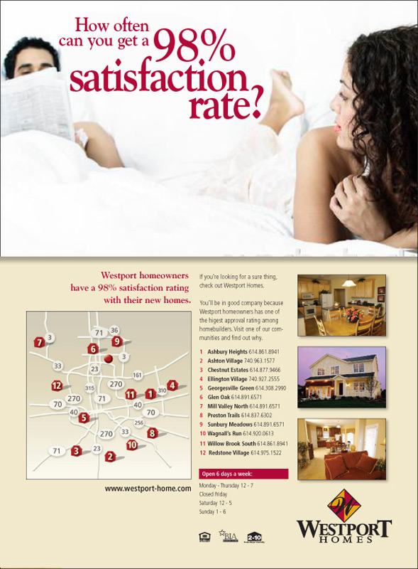 man and woman in bed not totally happy. Columbus Ohio marekting firm S+S designed this ad