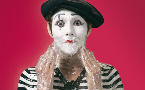image of shrink-wrapped mime, because who wouldn't want to see that!?