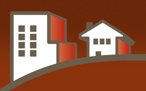 simplified illustration of homes on a hill