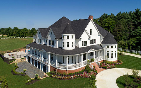 Aerial view of 15,000 square foot custom home