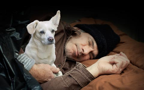 direct marketing examples of homeless man sleeping on street