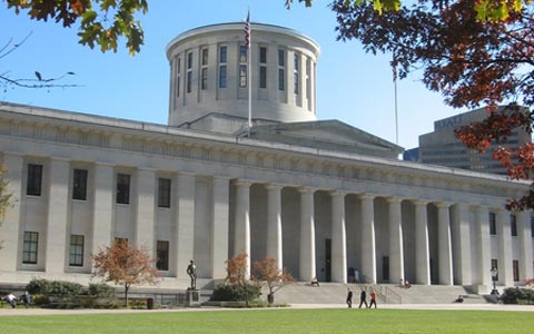 exterior photo of the Ohio Statehouse in Columbus