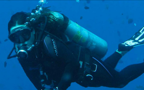 Underwater diver on website by Columbus SEO firm Sevell