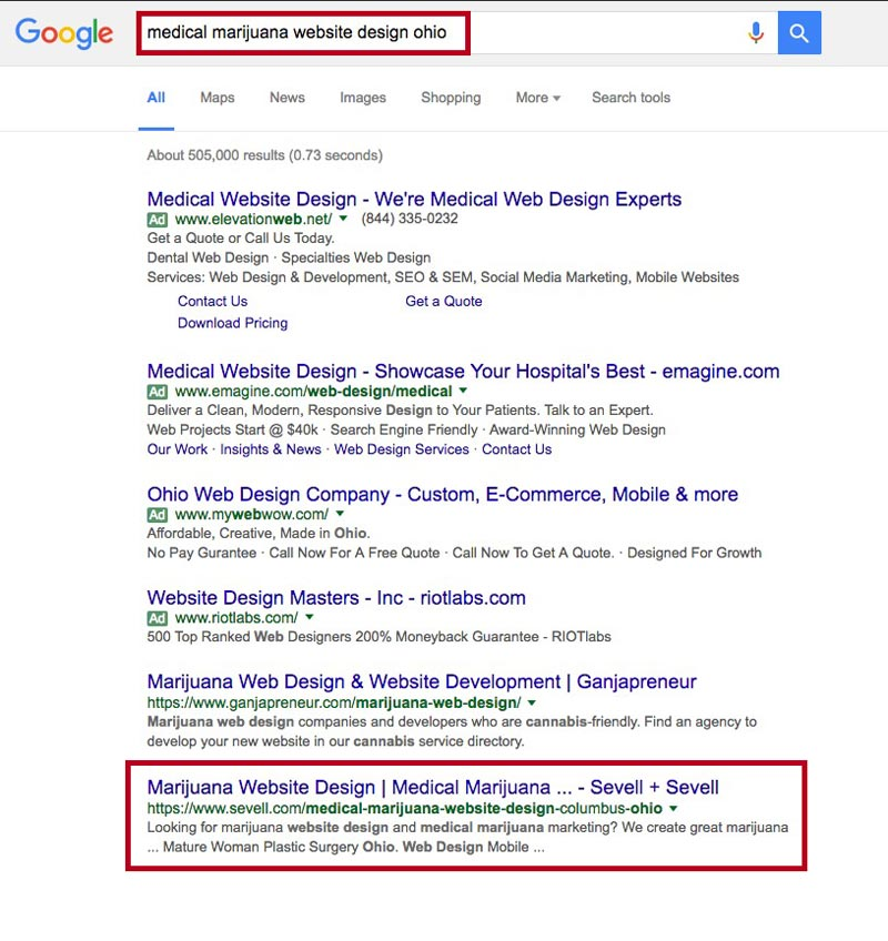"screen shot of search results for phrase ""medical marijuana website design ohio"""