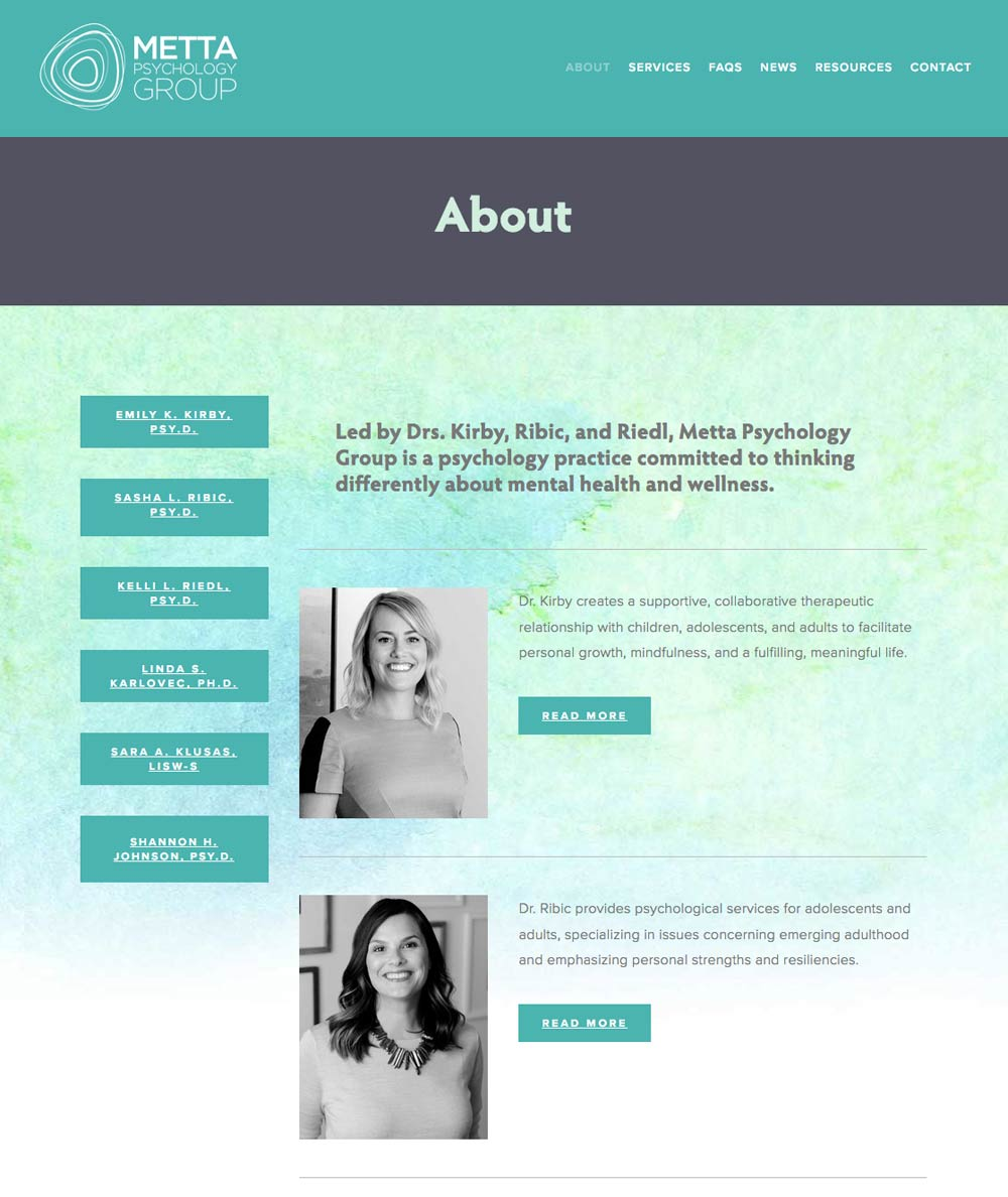 Metta Psychology custom-designed website by Columbus website design firm Sevell