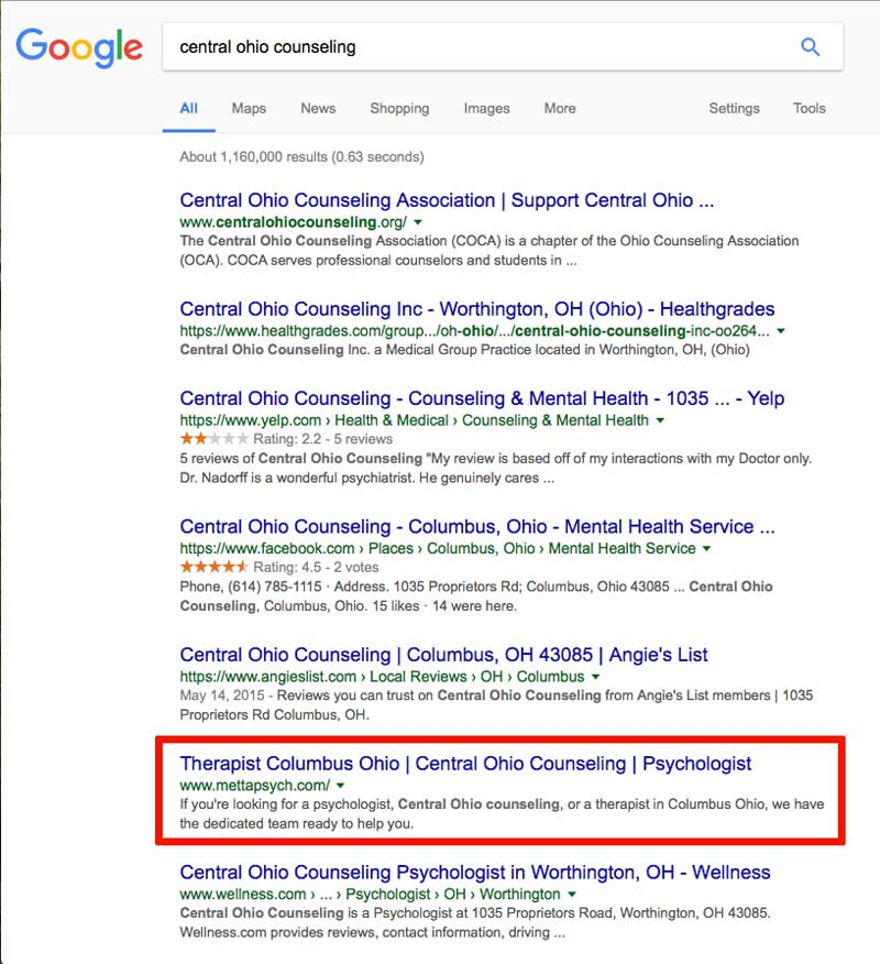"Google search results for Metta Psychology's keyword ""Central Ohio Counseling"""
