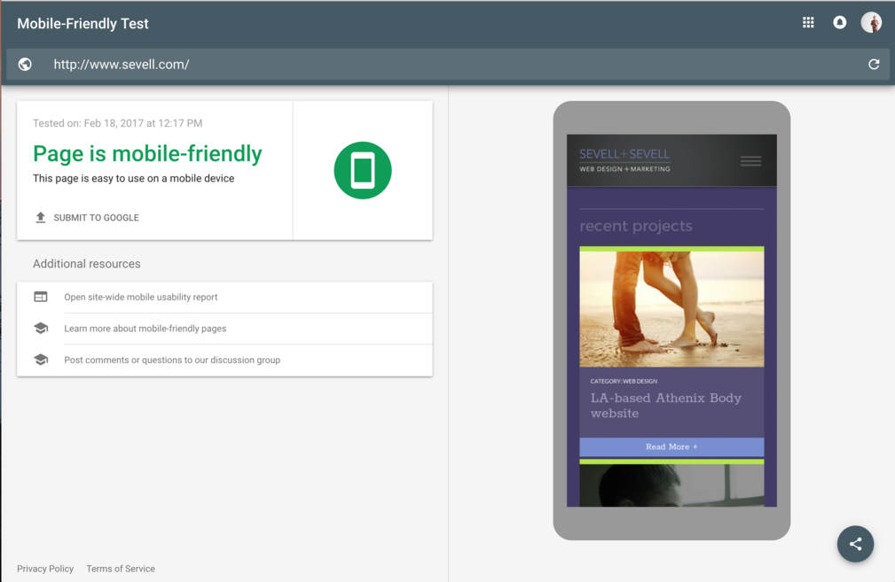 mobile-friendly homepage test by Columbus website design firm Sevell