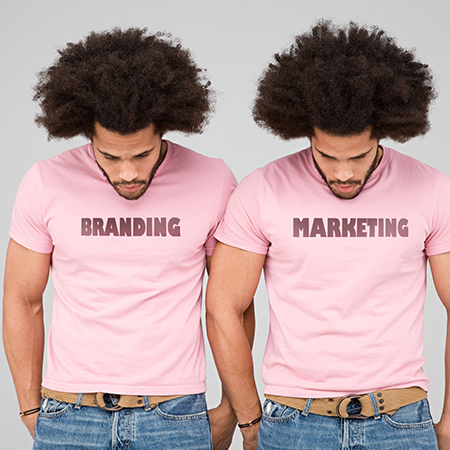 twin men wearing branding and marketing tshirts