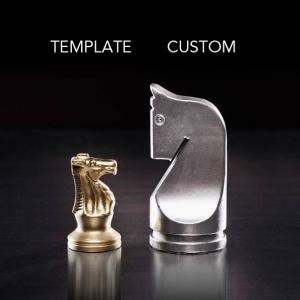 fancy and simple chess pieces depicting custom vs template websites from Columbus website design firm