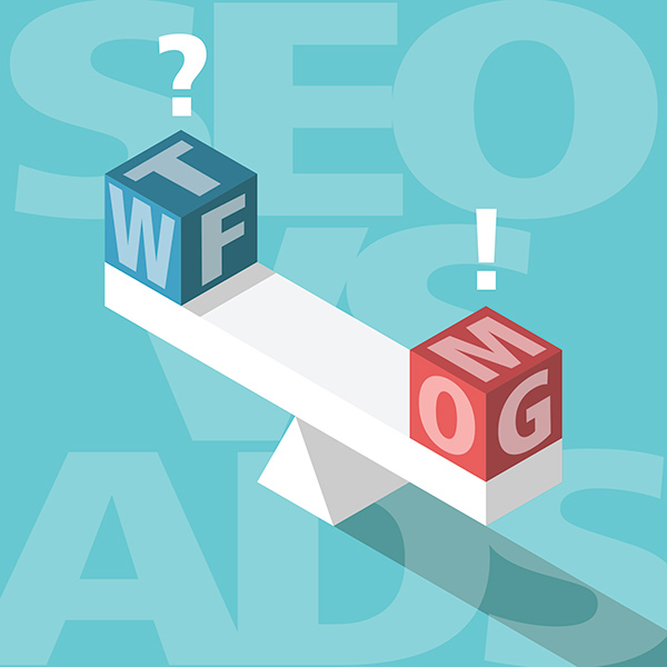 illustration of seesaw weighing SEO vs Google Ads