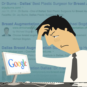 illustration of confused surgeon viewing Google saerch results for what he does