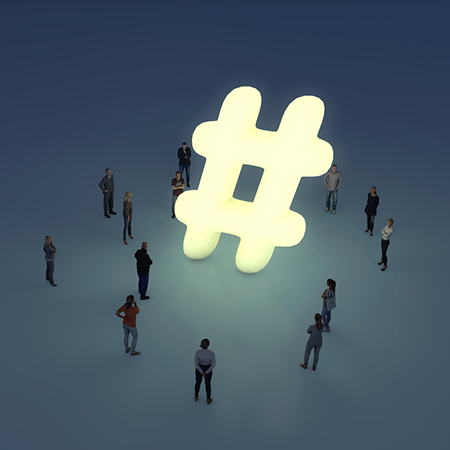 illustration of an instagram hashtag with people standing around it