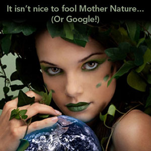 woman dressed as Mother Nature caressing a globe