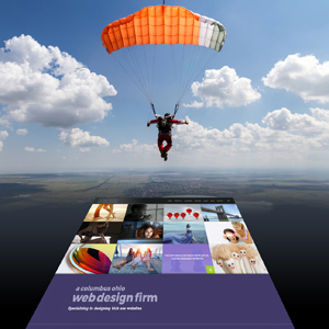 parachutist landing on Columbus Oh website design firm's homepage