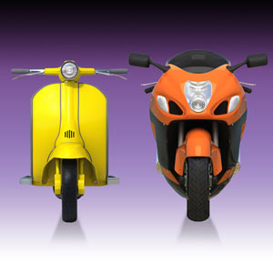 photo of scooter and motorcycle side by side to reflect website cost