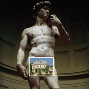 State of Michaelangelo's David with photo of home over his penis