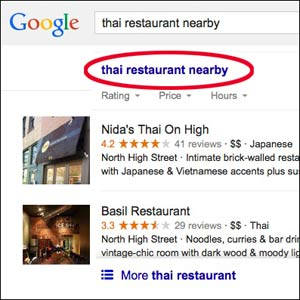 """Google seaerch for """"Thai food nearby"""" from Columbus Ohio website design firm"""