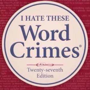 "cover of a fake dictionary with the word ""word crimes"" on the cover"