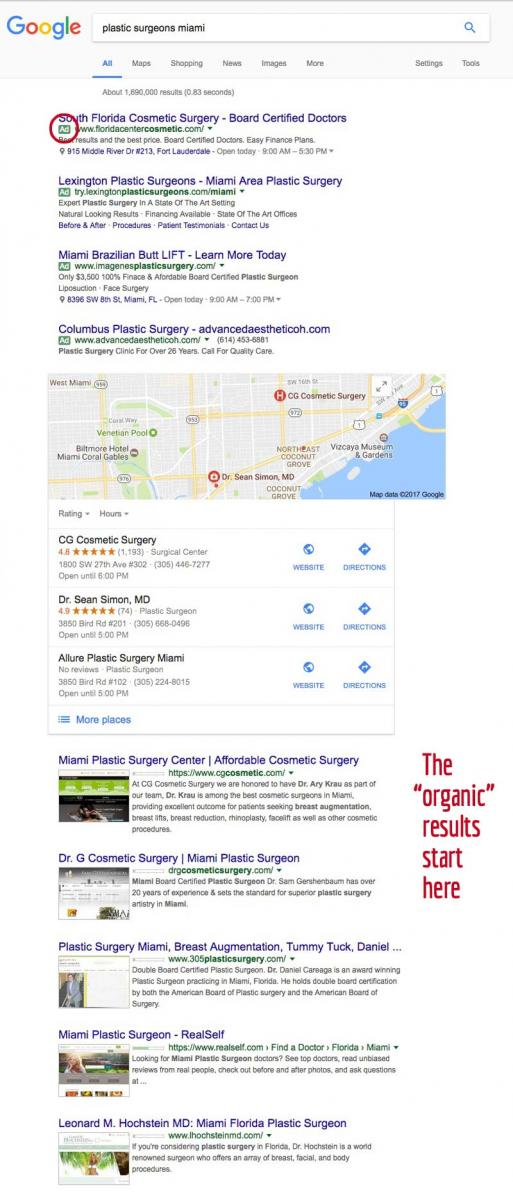 plastic surgeon Google results page by Columbus web design firm Sevell