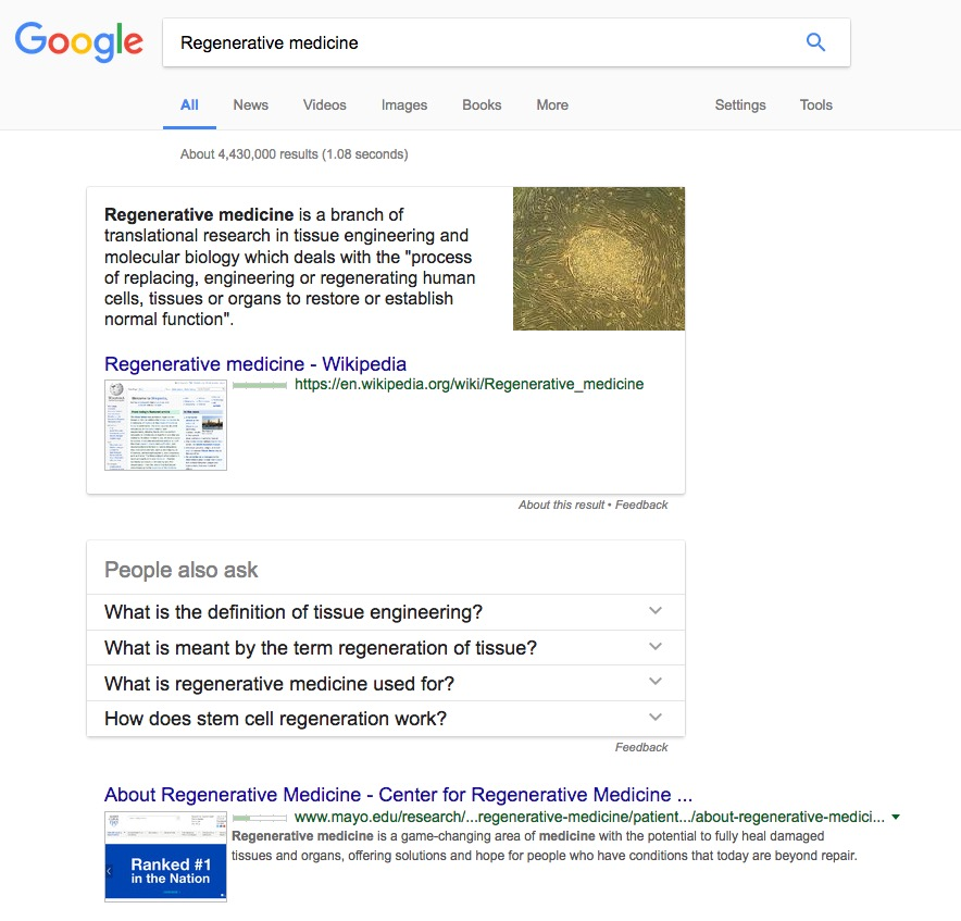 regenerative medicine Google serp pages by Columbus Oh website design company