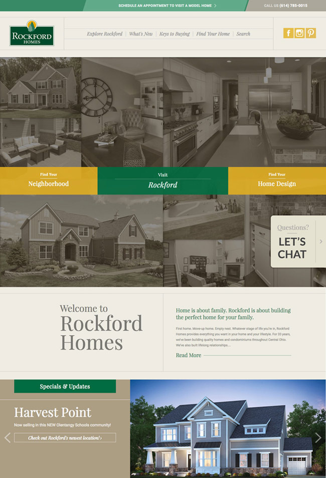 rockford home's homepage by columbus oh website design firm sevell