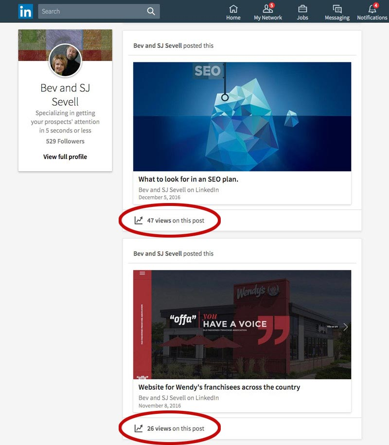 screen shot of two of Columbus web design firm's LinkedIn articles