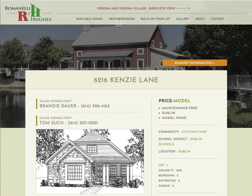 screen shot of available home page on home builder website