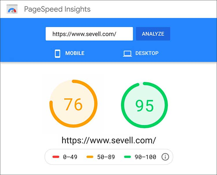 screenshot of comparison between sevells mobile and desktop speed adgering to Google's new rules
