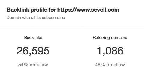 screenshot of number of backlinks from sevell website