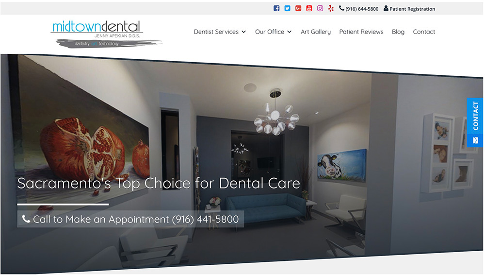 screenshot of Sacramento CA's midtown dental homepage telling what is SEO