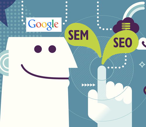 seo vs sem illustration by Columbus website design firm Sevell