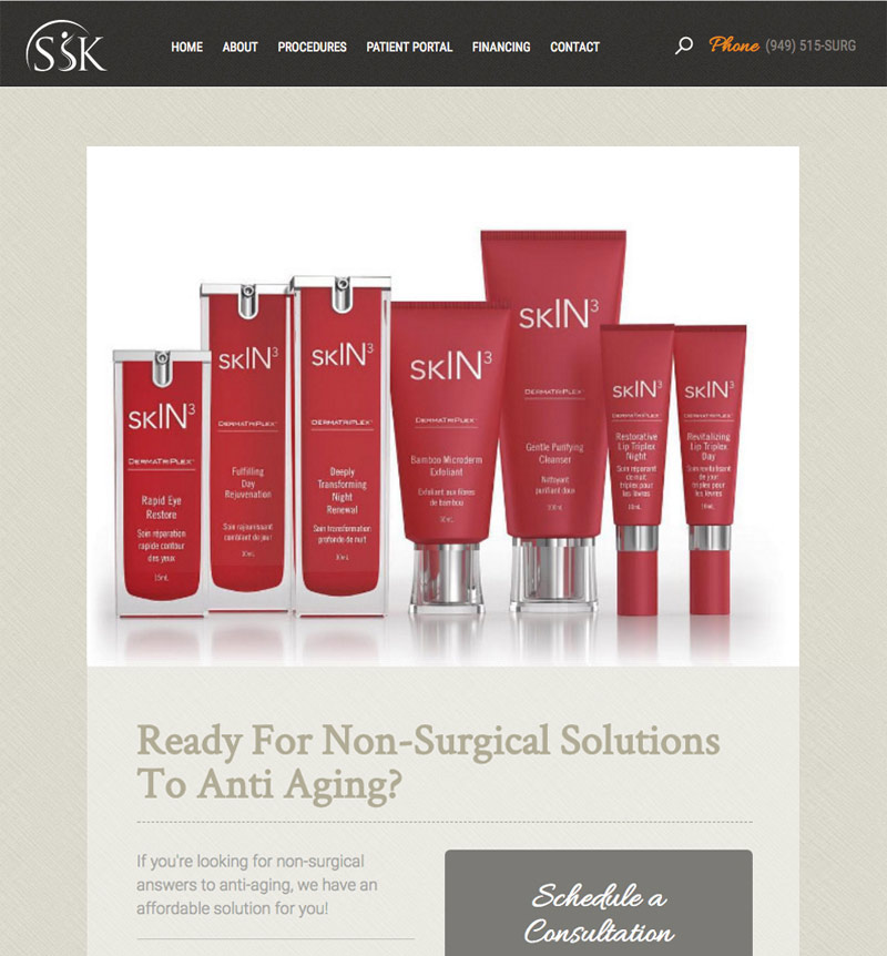 ssk plastic surgery landing page for non-surgical solutions to anti-aging
