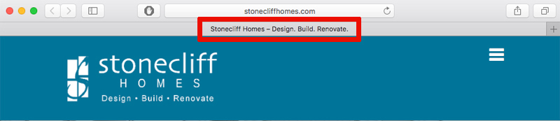 Stonecliff homes page title as shown by coumbus web design firm Sevell