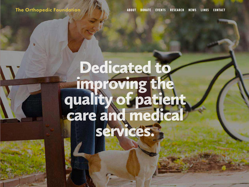 The Orthopedic Foundation website by Columbus website design firm Sevell