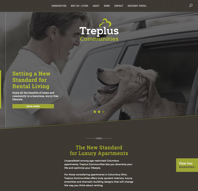 treplus homepage designed by Columbus Oh website design firm Sevell