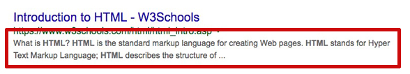 what a meta description looks like in Google