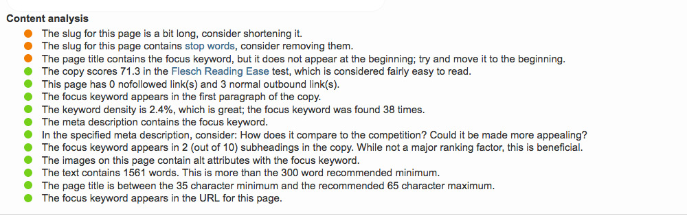 Yoast analysis of meta descriptions fo Columbus website design firm Sevell